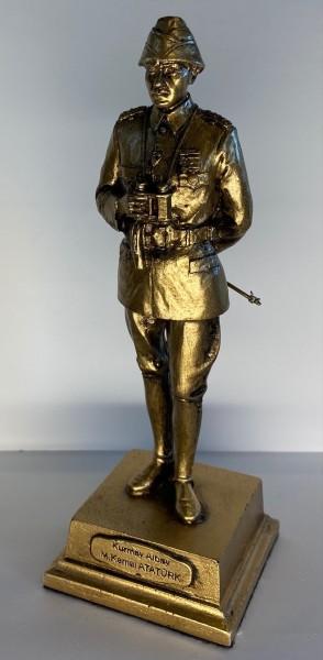 Atatürk Heykeli Küçük Boy - Kurmay Albay, Altın Renk