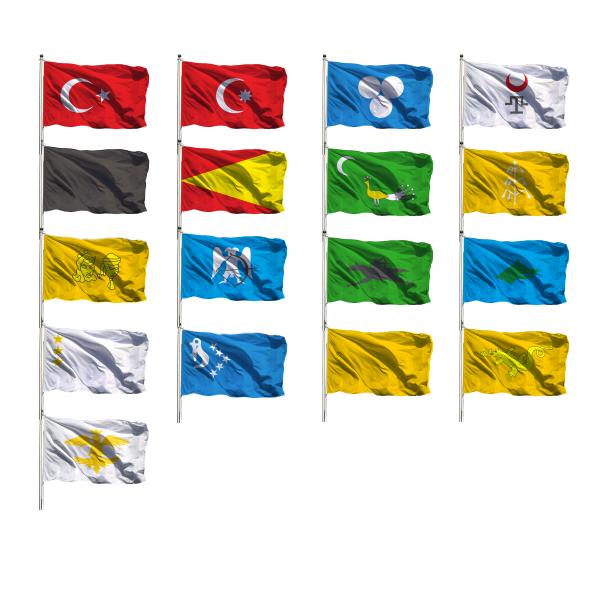 Eski Türk Devletleri bayrağı 17'li - 50cm x 75cm